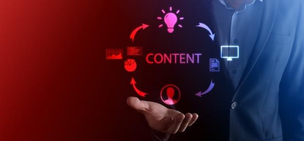 Ciclo di marketing dei contenuti: creazione, pubblicazione, distribuzione di contenuti per un pubblico mirato online e analisi