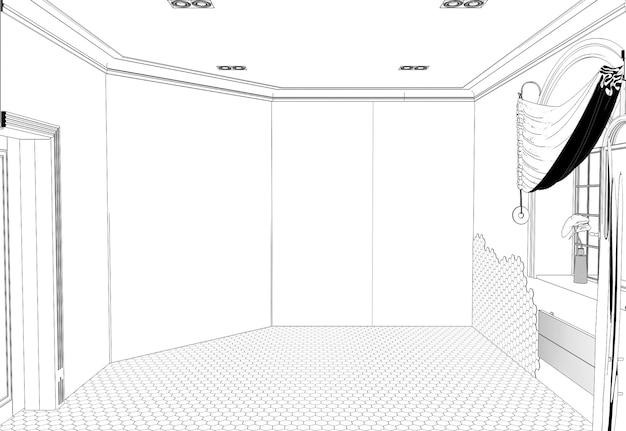 Visualizzazione del contorno di un grande rendering di cg di contorno di schizzo interno vuoto