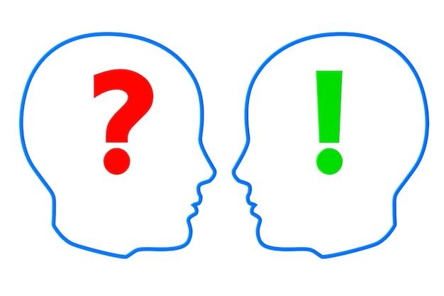 Contorni delle teste con punti interrogativi ed esclamativi su sfondo bianco