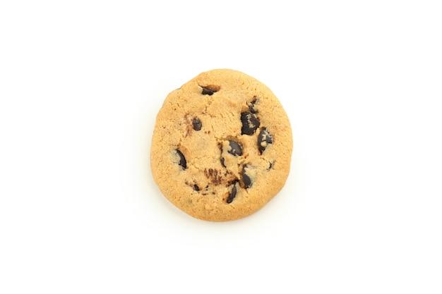 Cookie isolato su sfondo bianco, da vicino.