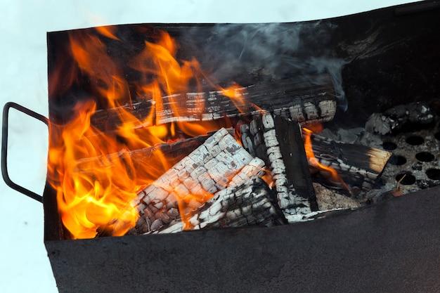 Cucinare cibo tradizionale dell'asia orientale sul fuoco della fiamma, bruciare tronchi nel fuoco del barbecue mentre cucini mentre ti rilassi all'aperto