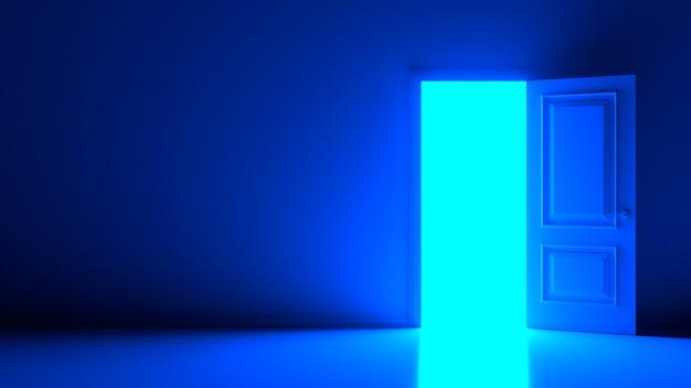 Luce diurna astratta fredda all'interno della porta bianca aperta sulla parete calda