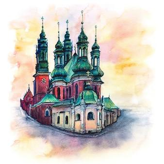 Schizzo a matite coplored della basilica dell'arcicattedrale di san pietro e san paolo cattedrale di poznan al tramonto polonia