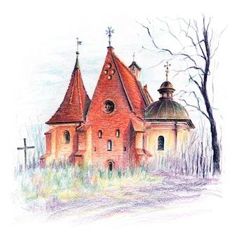 Schizzo a matite coplored della chiesa di san giovanni di gerusalemme fuori le mura a poznan in polonia