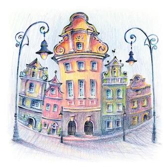 Schizzo di matite coplored di case accoglienti sulla piazza del mercato vecchio a poznan, poland