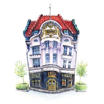 Schizzo di matite coplored della vecchia casa accogliente a poznan in polonia