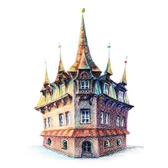 Schizzo delle matite di coplored di vecchia casa accogliente a poznan polonia
