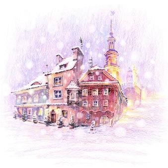 Matite coplored schizzo di natale innevato piazza del mercato vecchio a poznan, poland