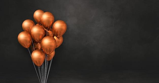 Mazzo di palloncini di rame su uno sfondo di muro nero. banner orizzontale. rendering di illustrazione 3d