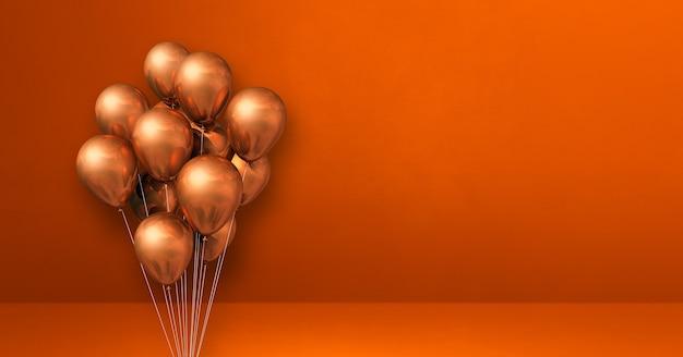 Mazzo di palloncini di rame sul fondo arancio della parete. banner orizzontale. rendering di illustrazione 3d