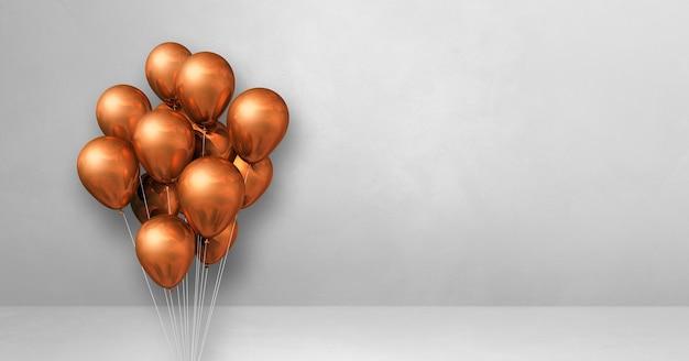 Mazzo di palloncini di rame su uno sfondo di muro bianco. banner orizzontale. rendering di illustrazione 3d