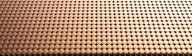 Fondo del modello del cilindro di rame. rendering 3d.