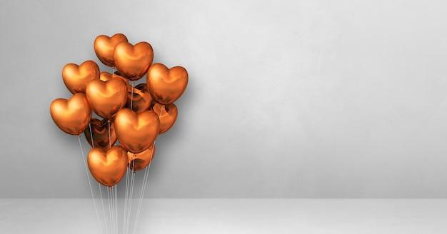 Mazzetto di palloncini a forma di cuore in rame su uno sfondo di muro bianco. bandiera orizzontale. illustrazione 3d