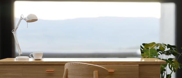 Copia lo spazio sul tavolo da lavoro in legno con il rendering 3d del montaggio di vista panoramica del paesaggio di montagna