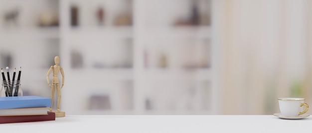 Copia spazio per la visualizzazione dei tuoi marchi su un tavolo bianco con decorazioni e sfondo sfocato