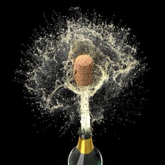 Sughero di una bottiglia di champagne che vola