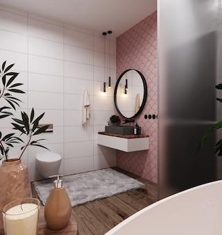 Angolo del bagno dell'hotel con pareti piastrellate rosa e bianche, grande specchio e lavabo grigio. stile scandinavo. rendering 3d