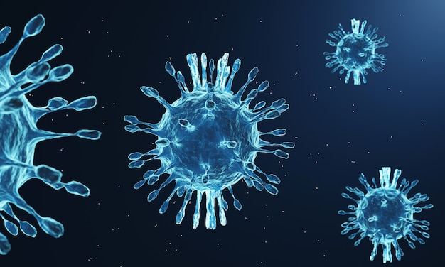 Mutazione del virus corona al microscopio, pandemia di covid 19 dal 2019 in ogni paese. il virus muta fortemente per espandere l'epidemia e difficile da trattare, tecnica di rendering 3d