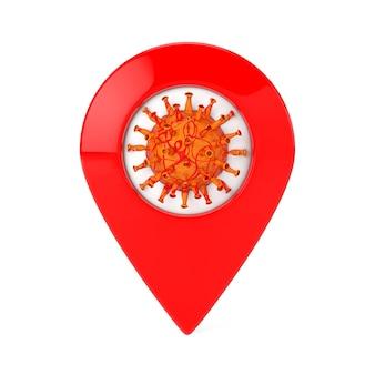 Cellula coronavirus covid-19 con puntatore mappa rosso su sfondo bianco. rendering 3d