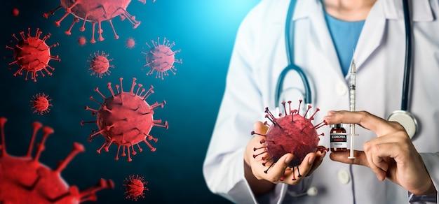 Coronavirus covid-19 test medico concetto di ricerca e sviluppo di vaccini