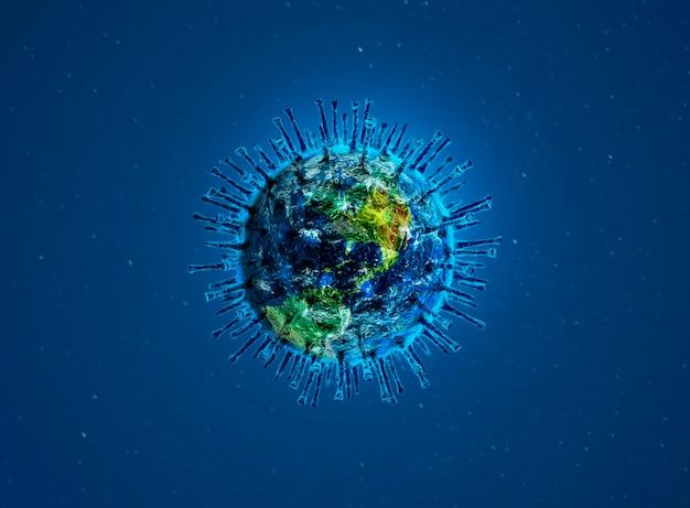Coronavirus covid-19 al microscopio. illustrazione 3d