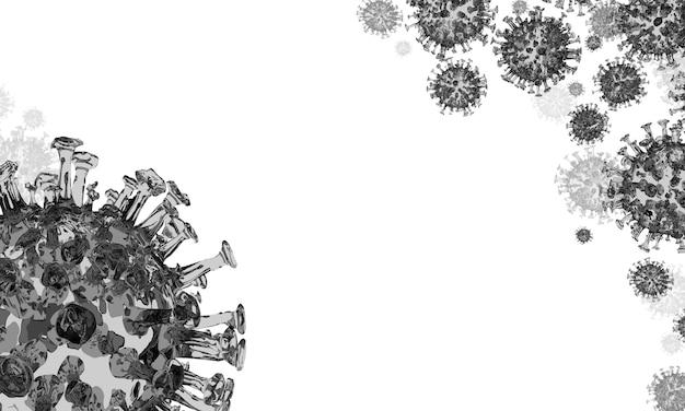 Il coronavirus vola nero su sfondo bianco copyspace