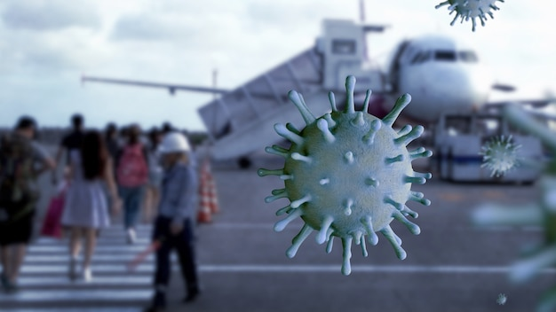 Coronavirus in volo mentre i passeggeri si imbarcano sull'aereo all'aeroporto internazionale