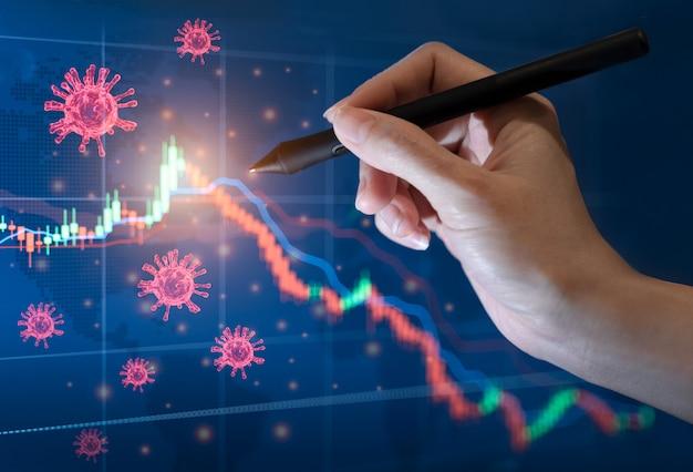 Coronavirus impatto concetto di crisi finanziaria dei mercati azionari dell'economia globale