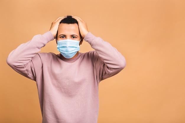 Coronavirus. uomo che indossa una maschera igienica per prevenire infezioni, malattie respiratorie aviotrasportate come l'influenza