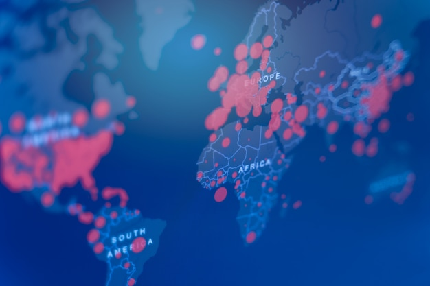 Aggiornamento della situazione delle malattie delle mappe di coronavirus 2019 diffusa in tutto il mondo
