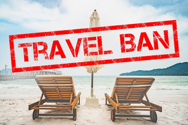 Pandemia di coronavirus. divieto di volo e frontiere chiuse per turisti e viaggiatori con coronavirus covid-19 dall'europa e dall'asia. il divieto di concetto di viaggio. divieto di viaggio