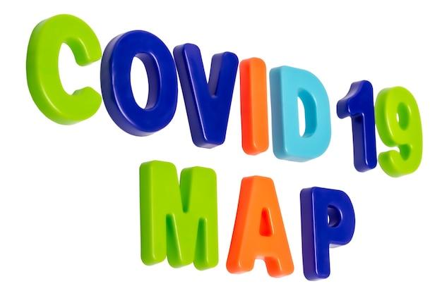 Testo della pandemia di coronavirus mappa covid19 su sfondo bianco mappa di distribuzione della pandemia globale