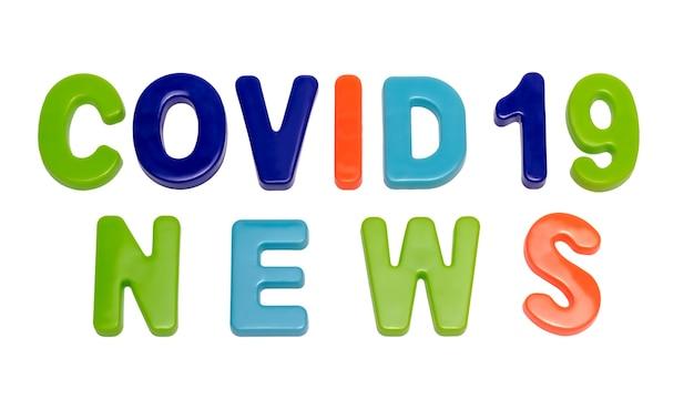 Testo della pandemia di coronavirus notizie covid19 su sfondo bianco