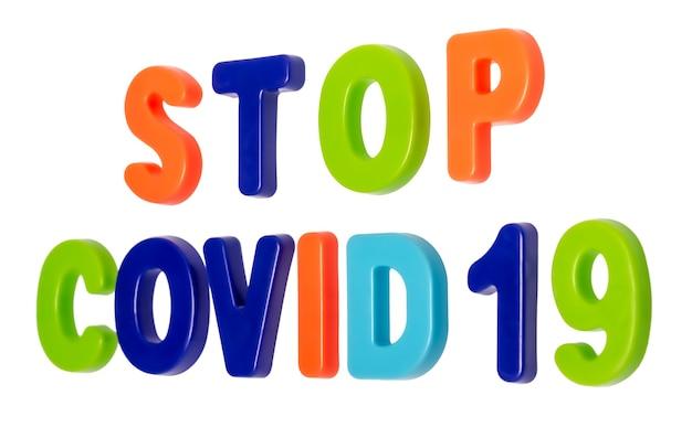 Testo pandemico del coronavirus stop covid19 su sfondo bianco ferma il coronavirus globale