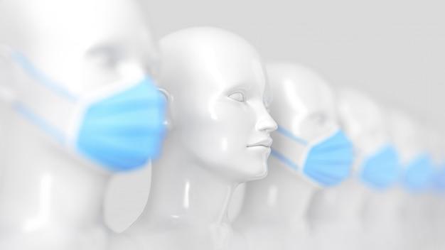 Prevenzione del coronavirus. testa di manichino in piedi senza maschera in una fila di altre teste in piedi in blu maschere mediche luminose. illustrazione 3d