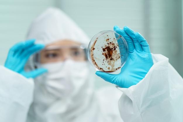 Processo di test del coronavirus: mano della donna in guanti di gomma blu che tengono un campione di virus nella capsula di petri in laboratorio.