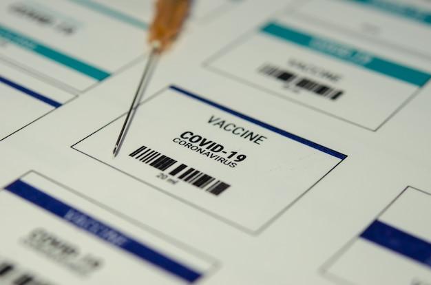 Etichetta del vaccino contro il coronavirus, covid-19