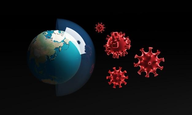 Coronavirus con globo terrestre - focolaio di influenza o influenza di coronavirus, rendering 3d