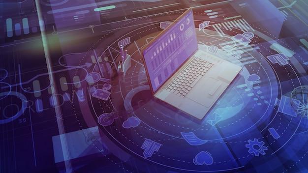 Background aziendale con laptop e infografiche sul tema del business in tutto il mondo.