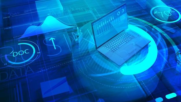 Background aziendale con laptop e molti dati aziendali astratti.