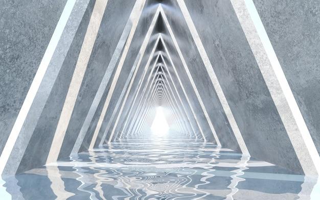 Design del corridoio con pavimento ad acqua. progettazione concettuale. rendering 3d