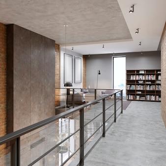 Corridoio con ringhiere nell'area ricreativa della biblioteca nello stile di un loft. rendering 3d