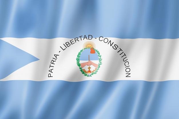Bandiera della provincia di corrientes, collezione di striscioni d'ondeggiamento dell'argentina. illustrazione 3d