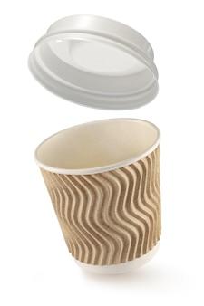 Tazza ondulata del coffe del cartone da andare isolata su bianco