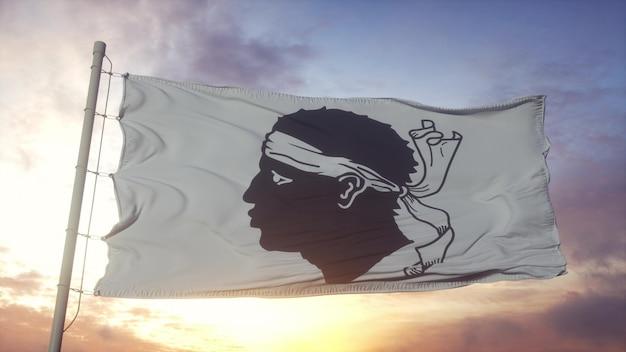Bandiera della corsica, francia, che fluttua nel vento, nel cielo e nello sfondo del sole. rendering 3d