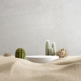 Sfondo cosmetico per esposizione sul podio di presentazione del prodotto su sfondo sabbia