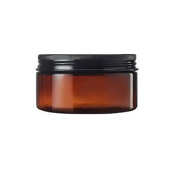 Vaso cosmetico in vetro marrone per crema corpo, burro, scrub, sale da bagno, gel, cura della pelle, polvere, gel per capelli. isolare lo sfondo bianco