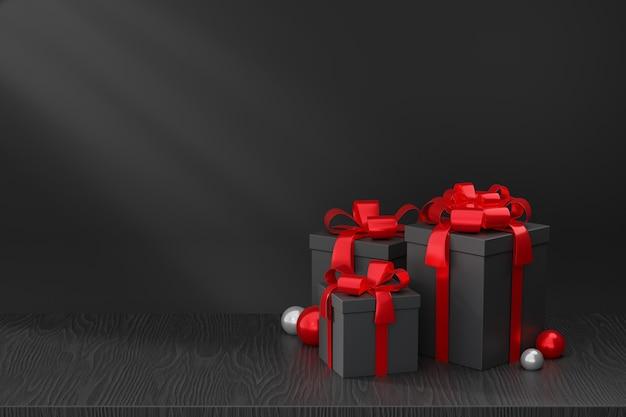 Espositore per prodotti cosmetici, confezione regalo rossa nera su pavimento in legno nero su sfondo scuro. illustrazione di rendering 3d