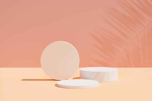 Espositore per prodotti cosmetici. podio cilindrico su sfondo rosa giallo con ombra di foglie di palma. illustrazione di rendering 3d