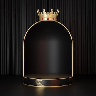 Espositore per prodotti cosmetici, podio cilindrico in marmo nero oro con corona d'oro e parete ad arco su sfondo nero. illustrazione di rendering 3d